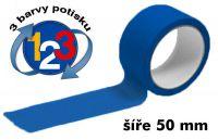 Modrá potištěná páska 50mm 3 barvy