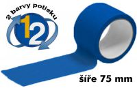 Modrá potištěná páska 75mm 2 barvy