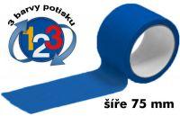 Modrá potištěná páska 75mm 3 barvy