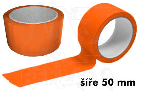 Oranžová lepící páska šíře 50mm bez potisku