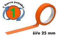 Oranžová potištěná páska 25 1 barva