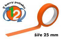 Oranžová potištěná páska 25 2 barvy