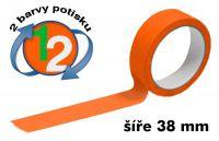 Oranžová potištěná páska 38 2 barvy