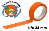 Oranžová potištěná páska 38 3 barvy