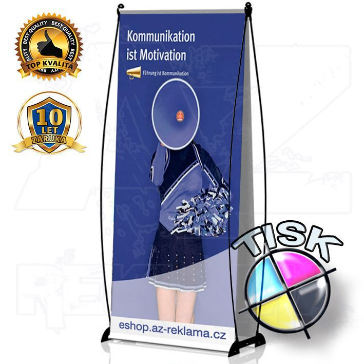 Přenosný Banner Design 85x200 oboustranný s tiskem A-Z Reklama CZ