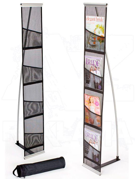 Skládací Textilní síťovaný stojan na letáky 4xA4