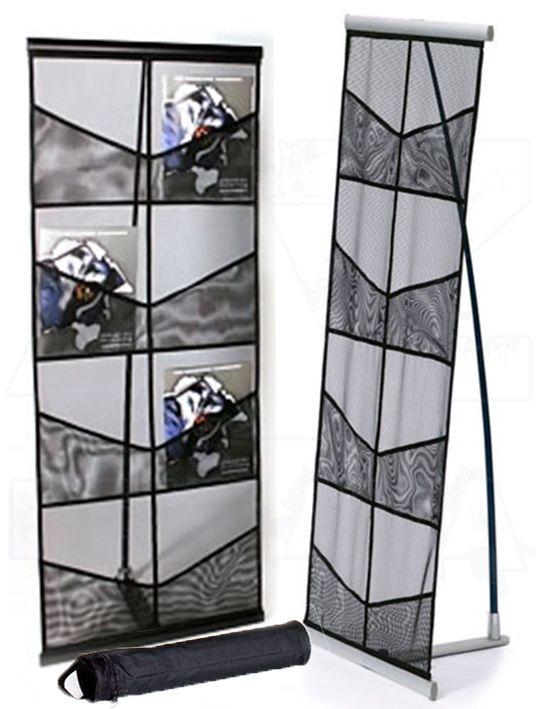 Skládací Textilní síťovaný stojan na letáky 8xA4