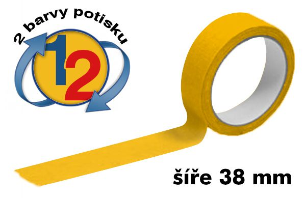 Žlutá potištěná lepící páska 38mm 2 barvy tisku A-Z Reklama CZ