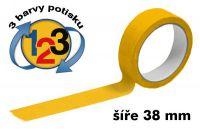 Žlutá potištěná páska 38mm 3 barvy