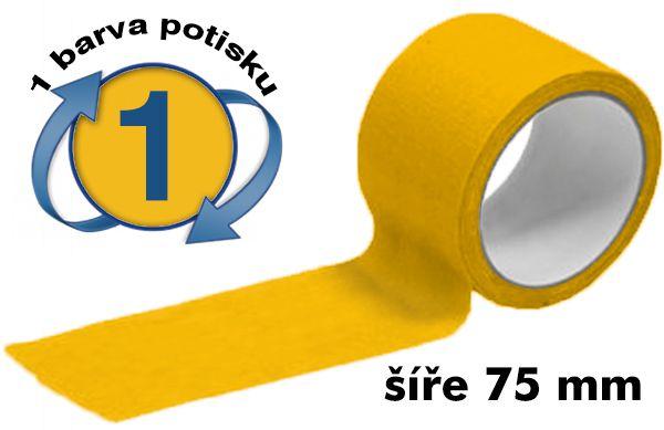 Žlutá potištěná lepící páska 75mm 1 barva tisku A-Z Reklama CZ