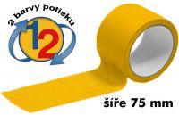 Žlutá potištěná páska 75mm 2 barvy