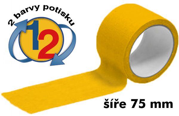Žlutá potištěná lepící páska 75mm 2 barvy tisku A-Z Reklama CZ