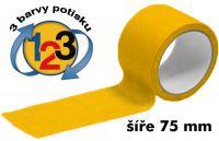 Žlutá potištěná lepící páska 75mm 3 barvy tisku A-Z Reklama CZ