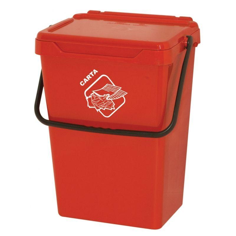 Biosystem Plastový odpadkový koš, červený, 35 litrů