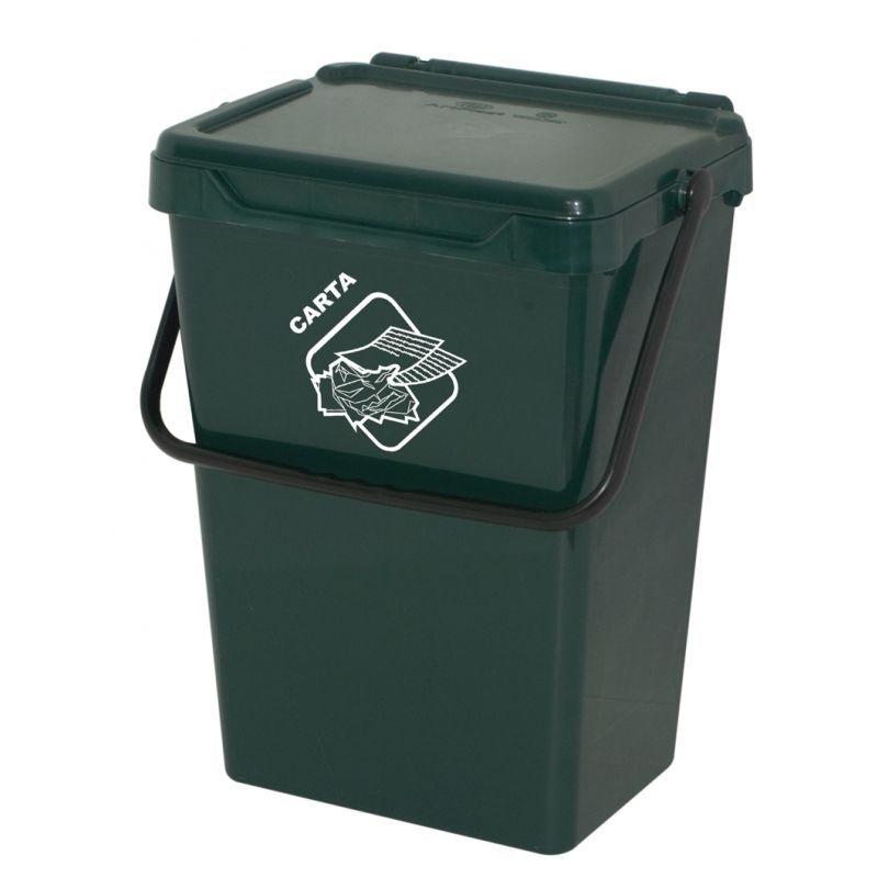 Biosystem Plastový odpadkový koš, tmavě zelený, 35 litrů