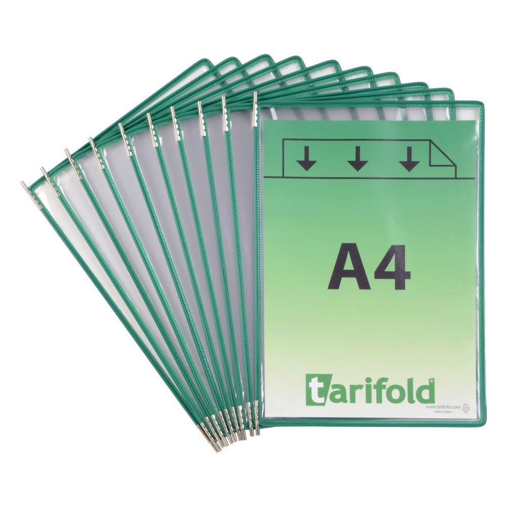 Kapsy Tarifold A4 - sada 10 ks - zelené lemování kapsy