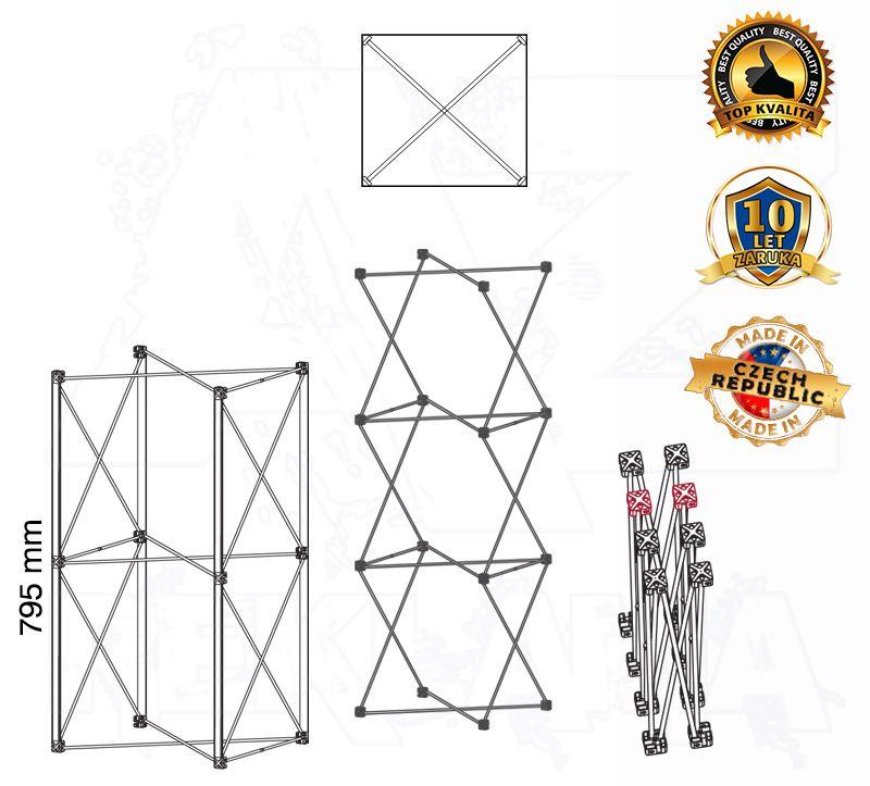POP UP Výstavní totem Hranatá věž 1x2 konstrukce