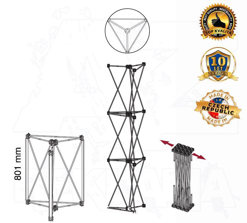 POP UP Výstavní totem Kulatá věž 1x1 konstrukce
