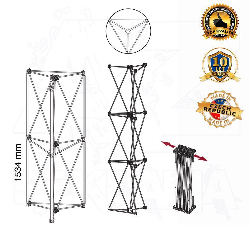POP UP Výstavní totem Kulatá věž 1x2 konstrukce