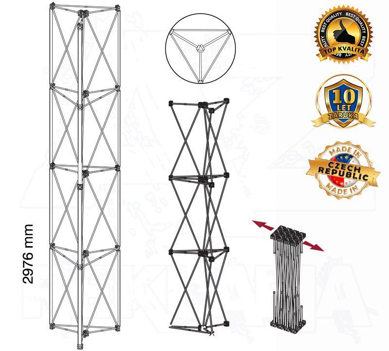 POP UP Výstavní totem Kulatá věž 1x4 konstrukce