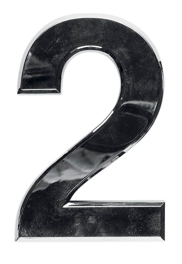 3D domovní číslo popisné - Chrom - 7 cm - číslo 2