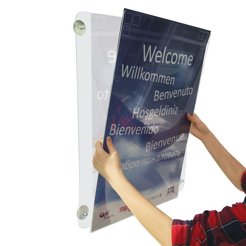 Čirý rám s přísavkami na sklo na plakát A4 na šířku