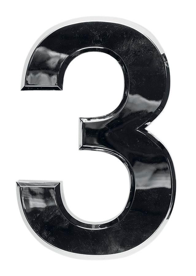3D domovní číslo popisné - Chrom - 7 cm - číslo 3