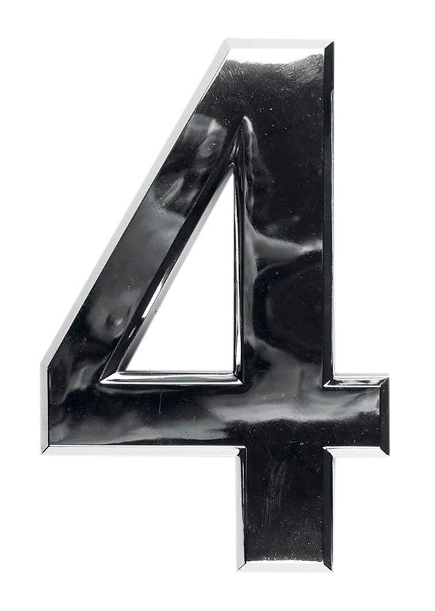 3D domovní číslo popisné - Chrom - 7 cm - číslo 4