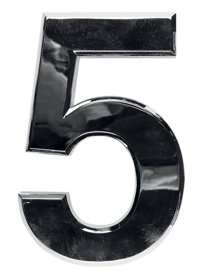 3D domovní číslo popisné - Chrom - 7 cm - číslo 5