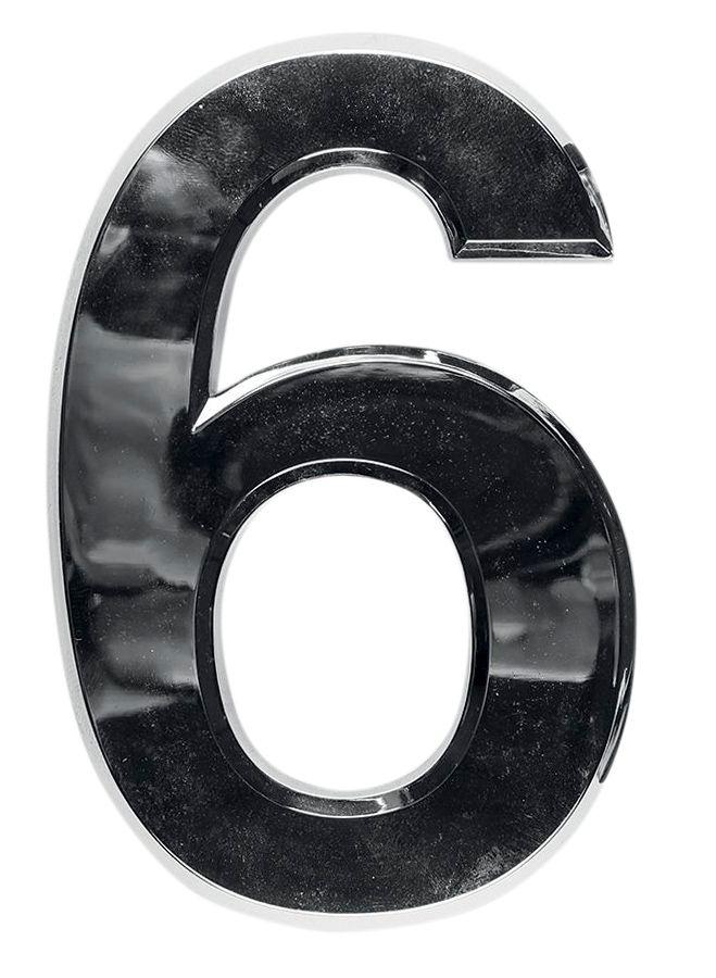 3D domovní číslo popisné - Chrom - 7 cm - číslo 6