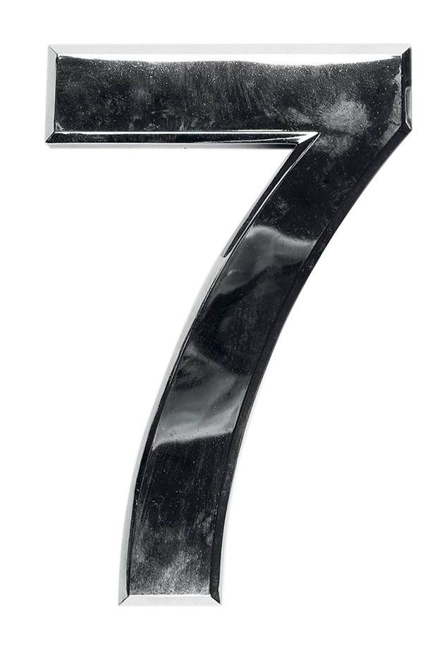 3D domovní číslo popisné - Chrom - 7 cm - číslo 7
