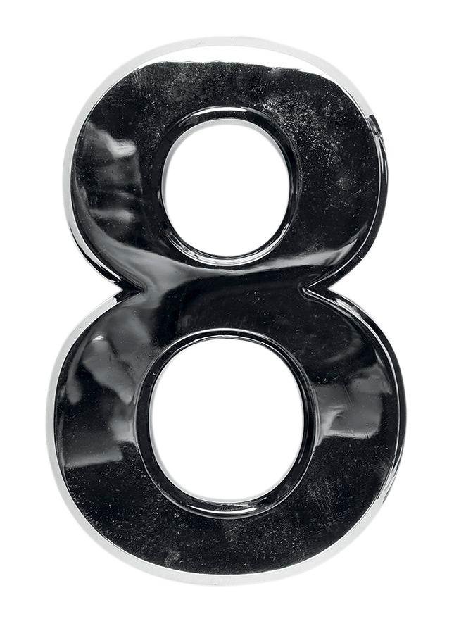 3D domovní číslo popisné - Chrom - 7 cm - číslo 8