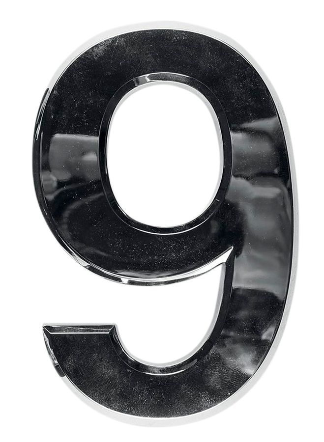 3D domovní číslo popisné - Chrom - 7 cm - číslo 9