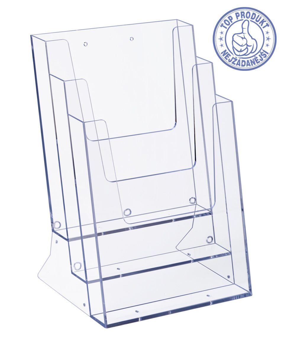 Plastový Zásobník stojací na letáky 3x A4 nad sebou