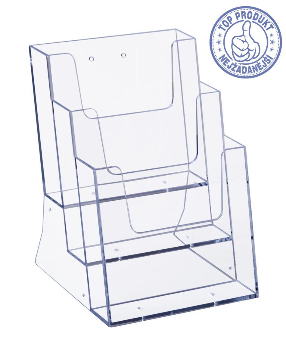 Plastový zásobník stojací na letáky 3x A5 nad sebou