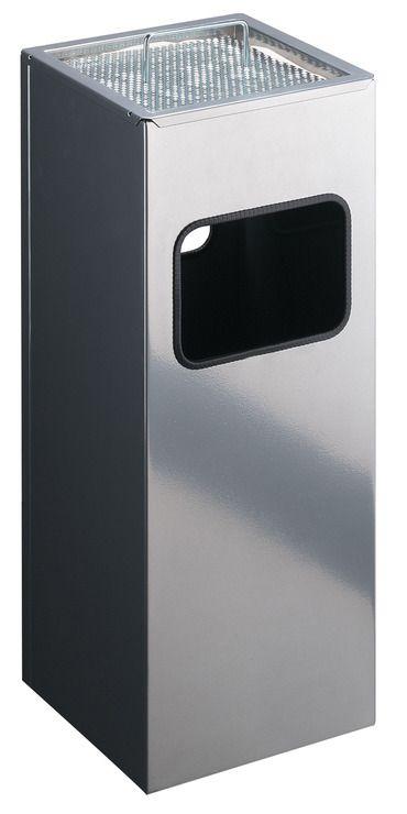 Kovový čtvercový odpadkový koš s popelníkem - Stříbrný