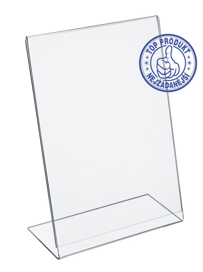 Plastový stojánek na 1 list papíru - Tvar L A4 na výšku