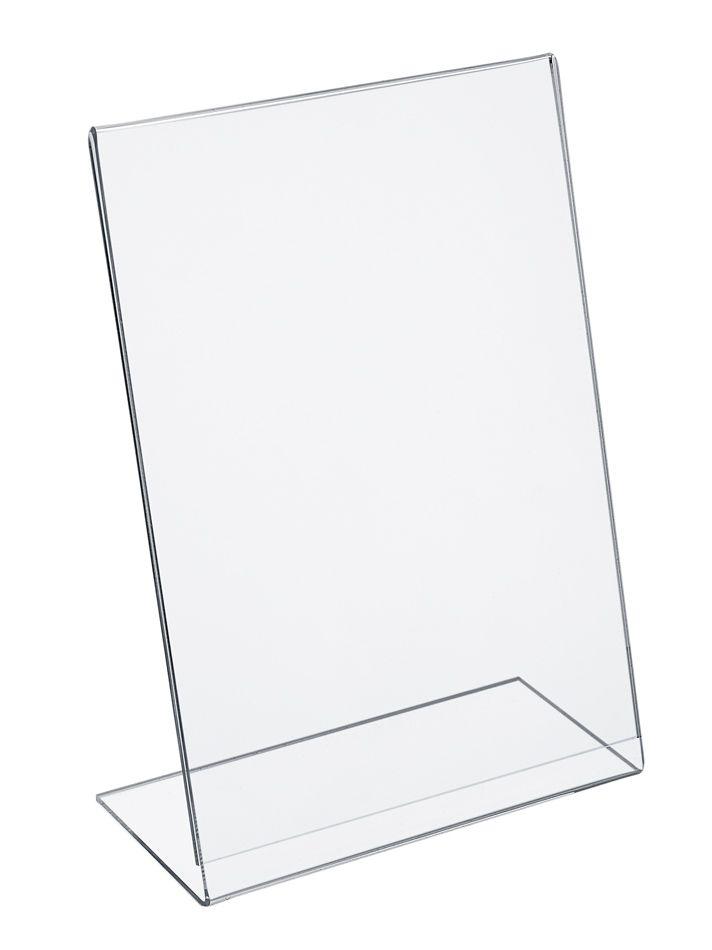 Plastový stojánek na 1 list papíru - Tvar L A6 na výšku