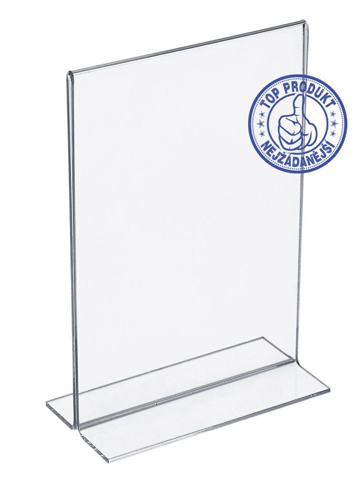 Plastový stojánek na 1 list papíru - Tvar T A4 na výšku