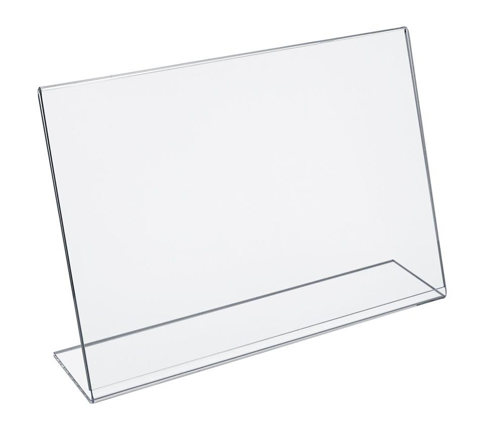 Plastový stojánek na 1 list - Tvar L vizitka na šířku