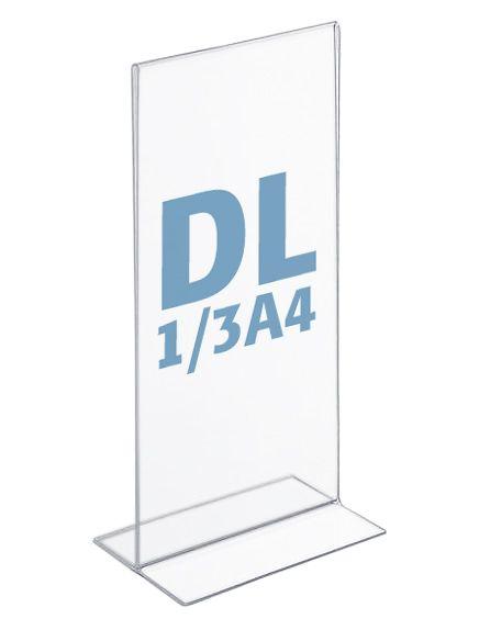 Plastový stojánek na 1 list - Tvar T - DL 1/3A4 na výšku
