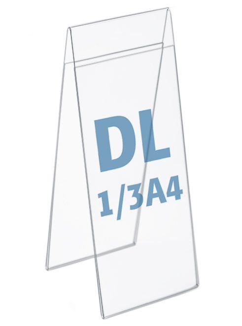 Plastový stojánek na 2 listy - Tvar A - DL 1/3A4 na výšku