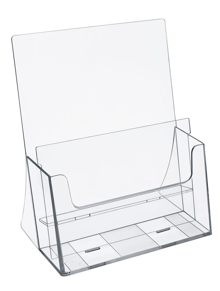 Plastový stojánek na letáky 2x A4 nad sebou stojací