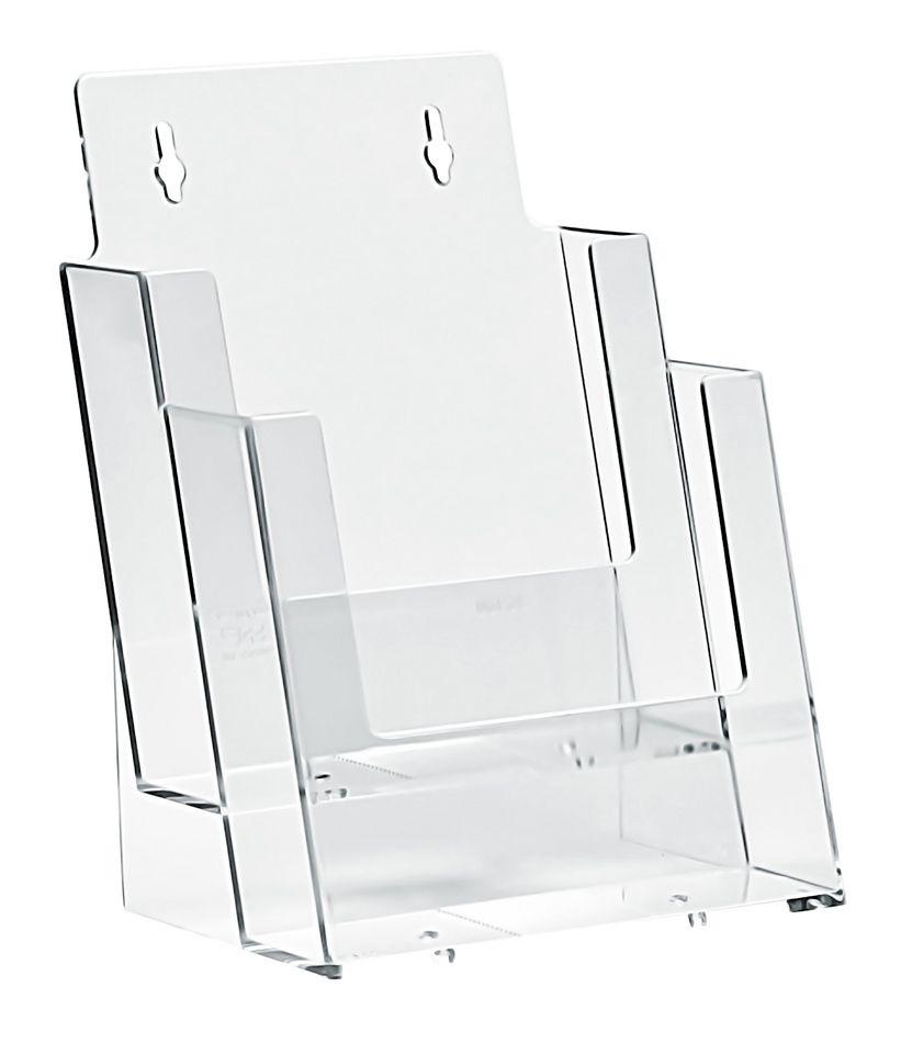 Plastový zásobník na letáky 2x A5 nad sebou stojací