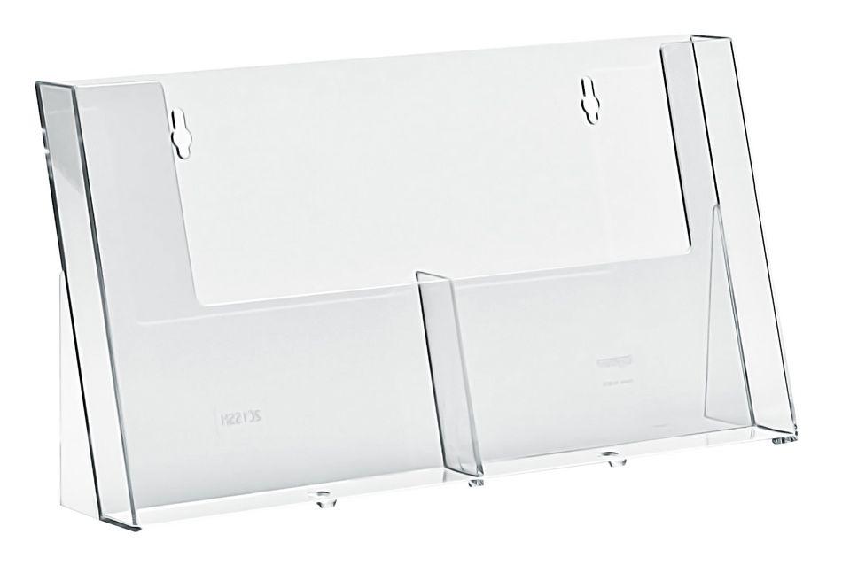 Plastový zásobník na letáky 2x A5 vedle sebe stojací