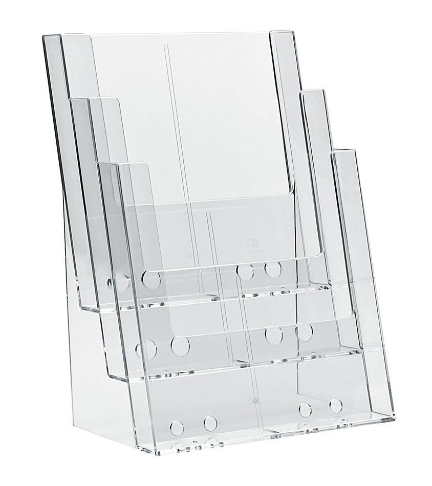 Plastový Zásobník na letáky 3x A4 nad sebou stojací A-Z Reklama CZ