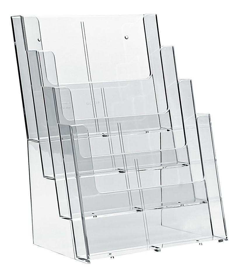 Plastový Zásobník na letáky 4x A4 nad sebou stojací