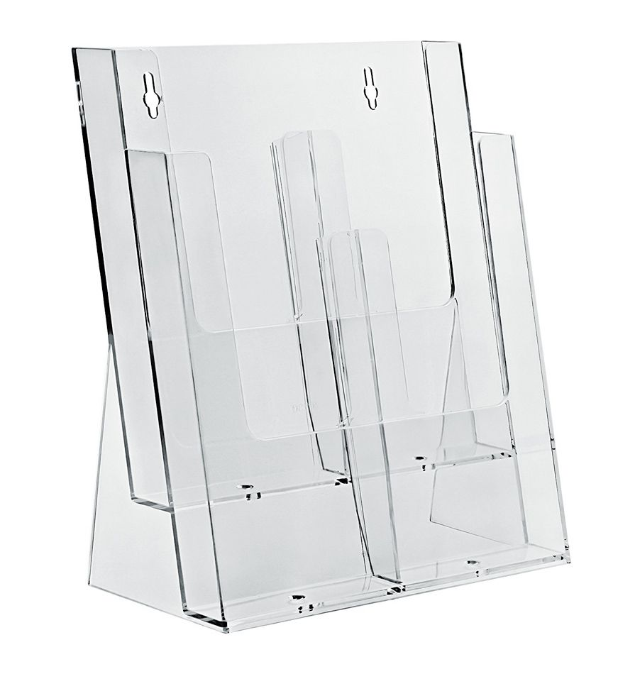 Plastový zásobník na letáky 4x DL 1/3A4 stojací Variabilní