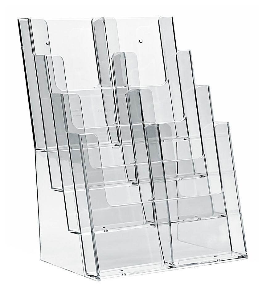 Plastový zásobník na letáky 8x DL 1/3A4 stojací Variabilní