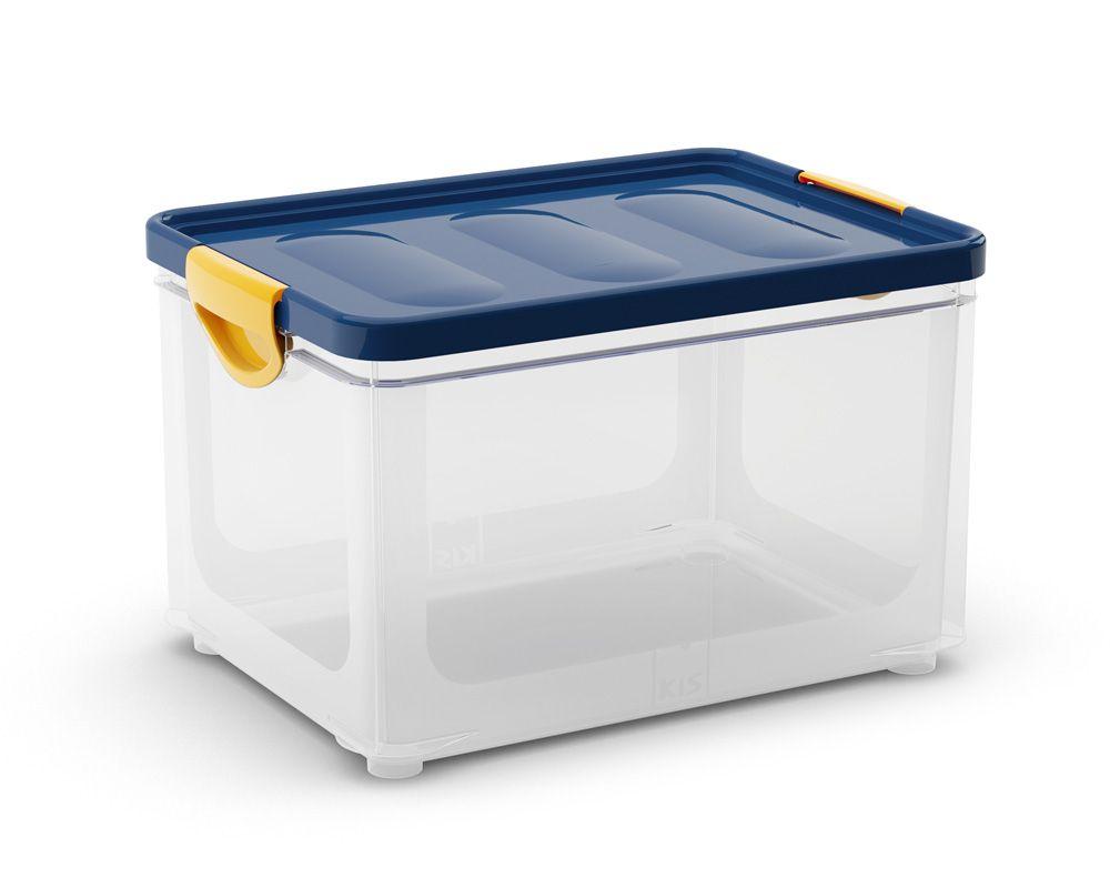 KIS Úložný box - Clipper Box L průhledny-modré víko, 32,5l